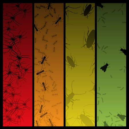 halloween spider: Four insect and spider banners