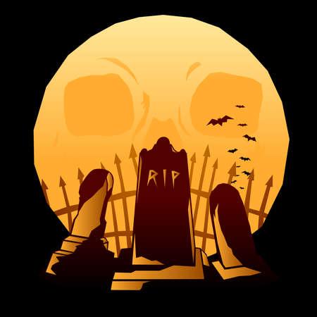 Full moon graveyard Stock Vector - 7583913