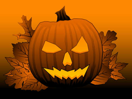 Leaves and jack o lantern Illustration