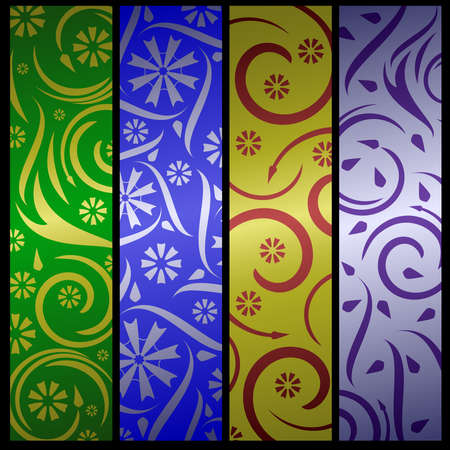 gold metal: Four floral banners Illustration