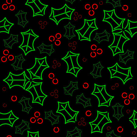 Seamless neon holly background Vector