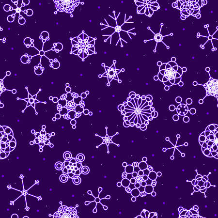 Seamless neon snow background Vector