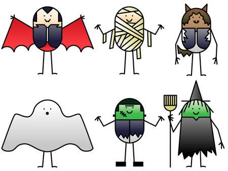 cartoon frankenstein: Six Halloween characters Illustration