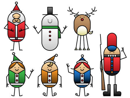 Seven Christmas cartoons Vector
