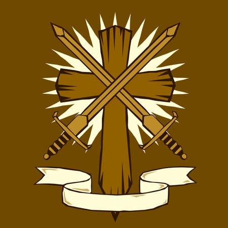 Woodcut cross with swords