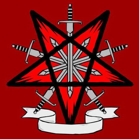 Woodcut pentagram with swords Illustration