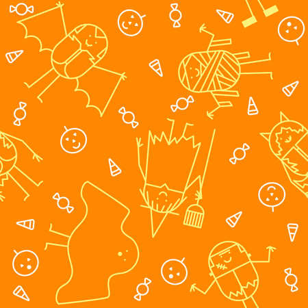 Seamless Halloween character background Vector
