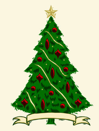 Houtsnede Christmas tree Stock Illustratie