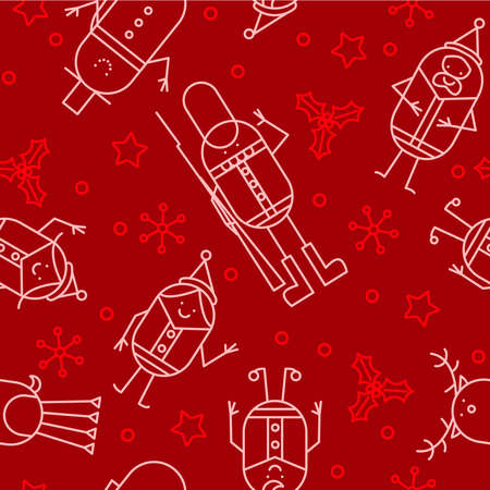 Seamless Christmas character background Vector