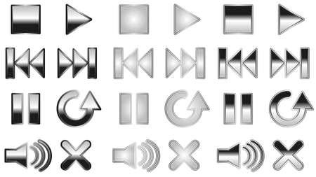 reverse: Black reflective player buttons Illustration