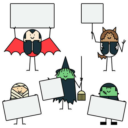 Halloween characters with signs