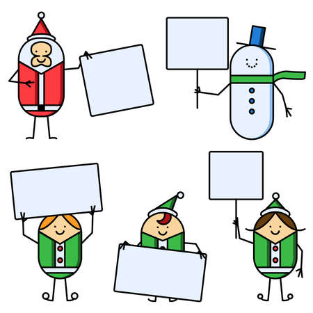 Christmas characters holding signs Vector
