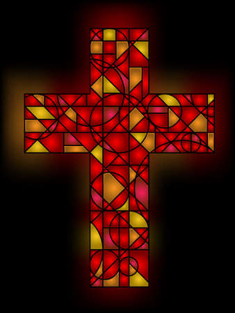 catholic stained glass: Stained glass cross