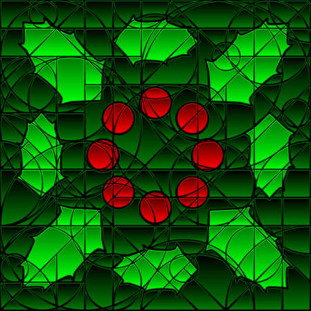Stained glass holly Vector