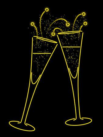 Neon champagne toast