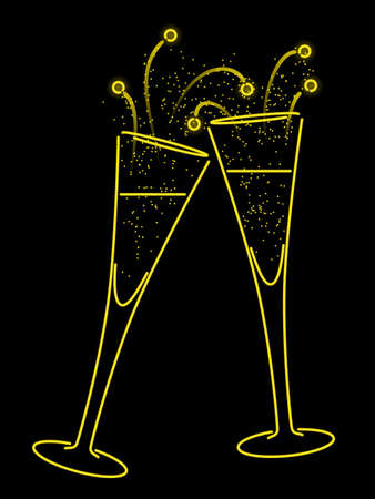 champagne celebration: Neon champagne toast