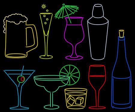 Neon bar collection Illustration