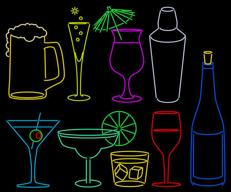 Neon bar collection Stock Illustratie