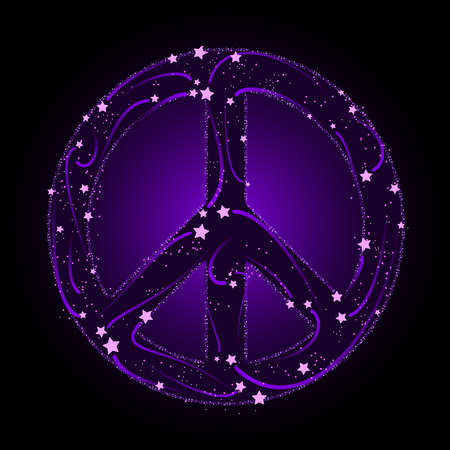 Shooting star peace sign Illustration