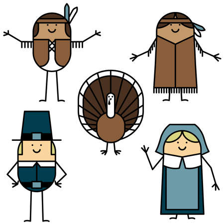 Thanksgiving characters Vector