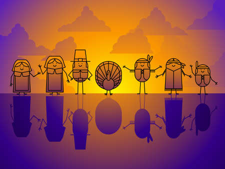 Thanksgiving character background Vector