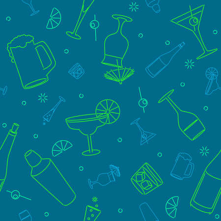 シームレスな飲み物の背景  イラスト・ベクター素材