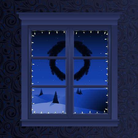 Christmas window view Vector