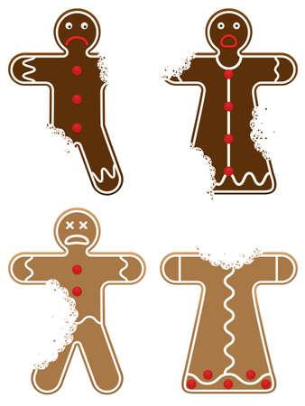 Eaten Gingerbread Men Stock Vector - 8131031