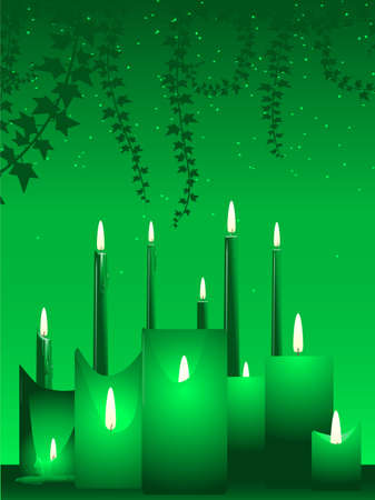 Candles and ivy Ilustracja