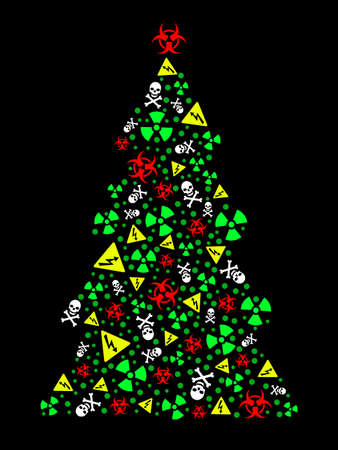 Goth warning Christmas tree Vector