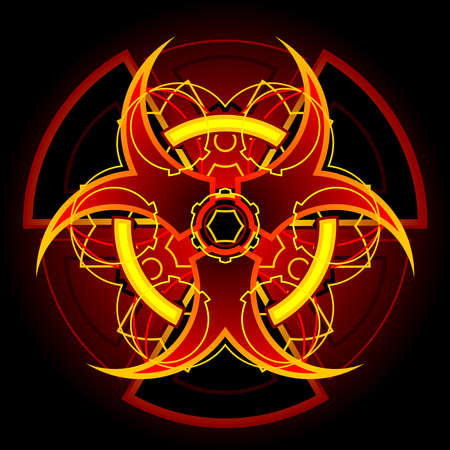 biohazard symbol: Hazardous fire design Illustration