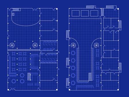 単純なナイトクラブの青写真  イラスト・ベクター素材
