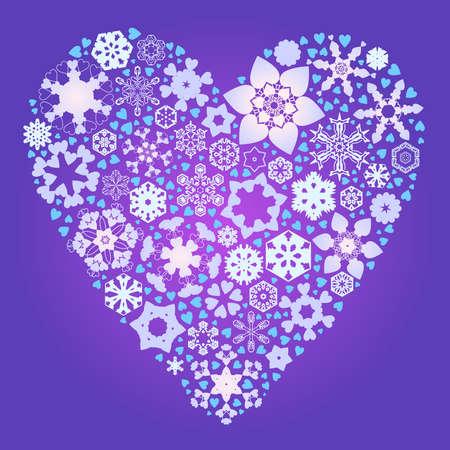 romance: Heart of snowflakes Illustration