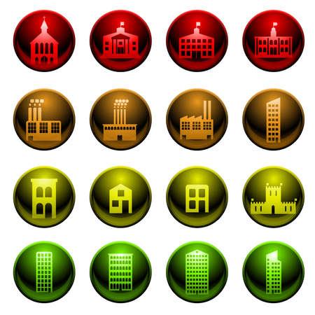 Bâtiment brillant icônes Banque d'images - 8756344
