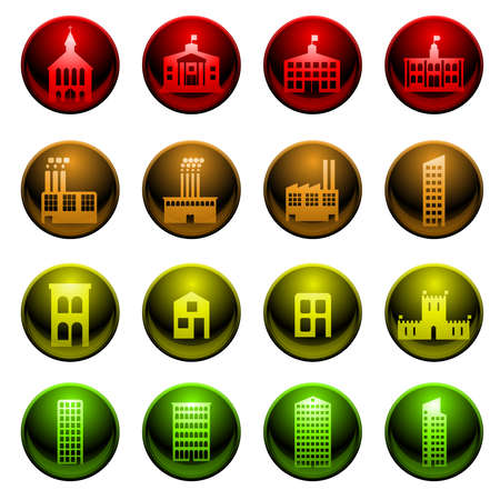 Glossy building icons