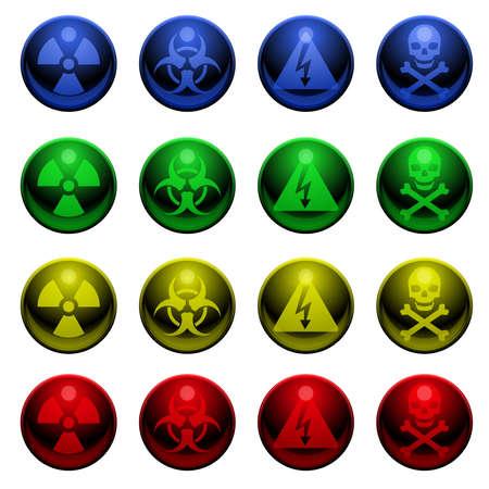 Glossy warning symbols Illusztráció