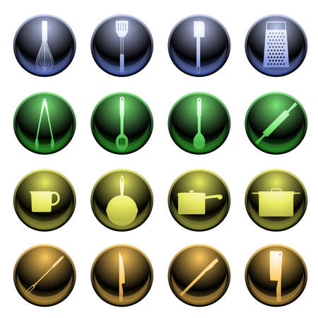 Shiny cooking icons Vector