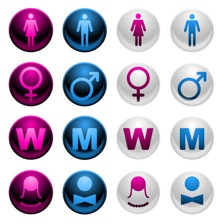 Shiny Gender Icons Stock Vector - 8883175