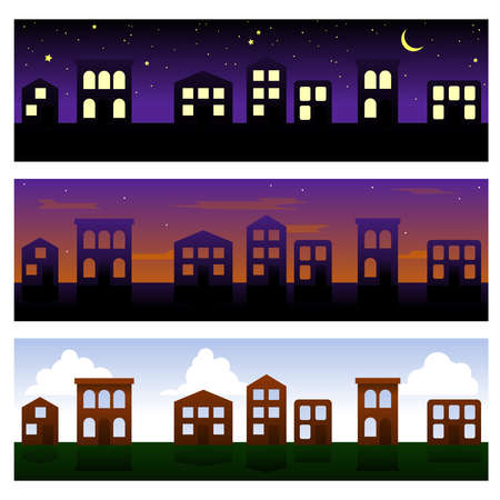 row houses: Three townhouse banners Illustration