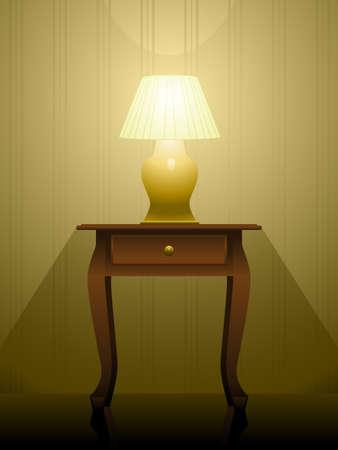 furnishing: Lamp op een tafel Stock Illustratie
