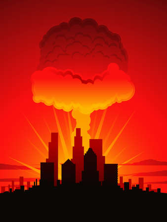 nuclear explosion: Mushroom cloud and city Illustration