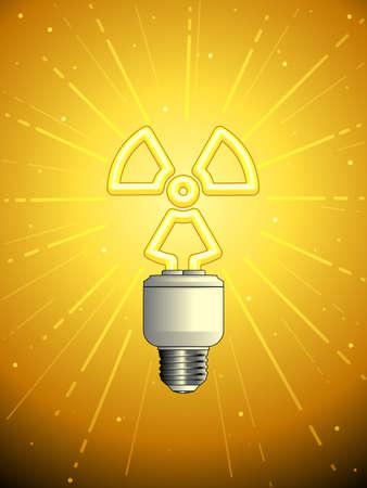 atomic: Atomic powered lightbulb Illustration