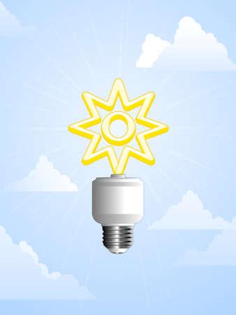 source: Solar powered lightbulb Illustration
