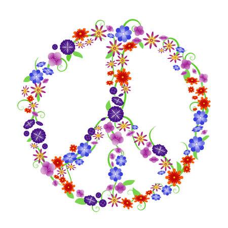 simbolo paz: Signo de paz de flor Vectores