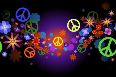 simbolo paz: Flores y paz Vectores