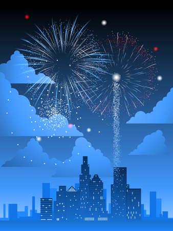Fuochi d'artificio sulla città Archivio Fotografico - 9197568