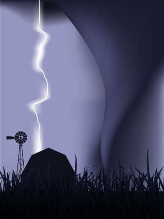 severe weather: Tornado and lightning Illustration