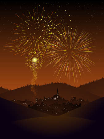 Fireworks over a village Stock Vector - 9223703