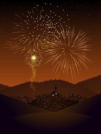 Fireworks over a village