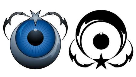 Tatuaje estrella y la Luna Ilustración de vector